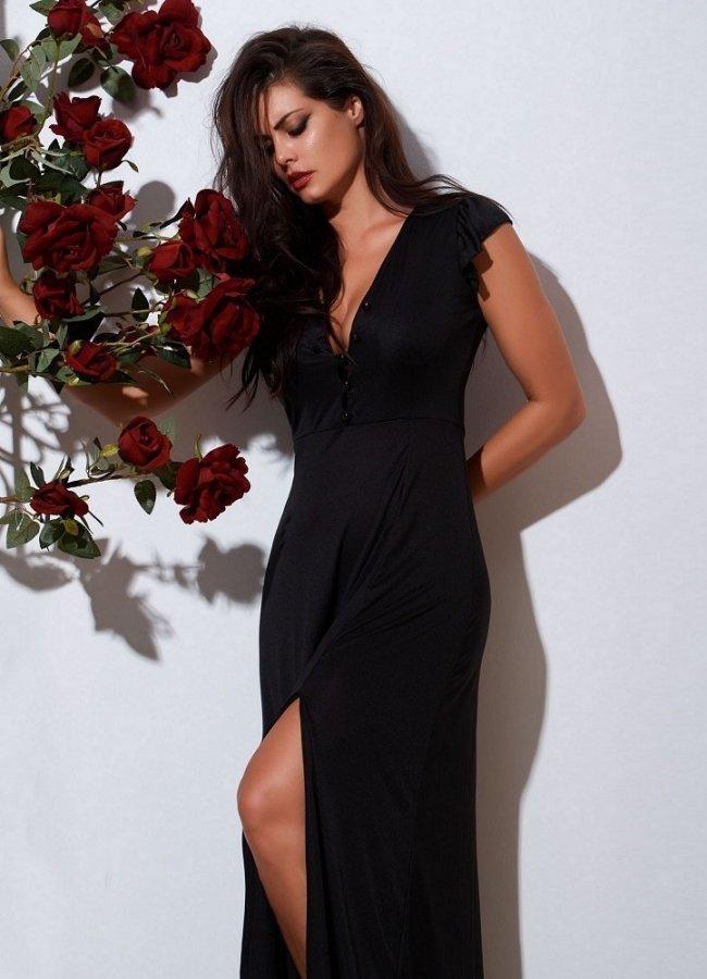 43ba0739f228 maxi φόρεμα με σκίσιμο και κουμπάκια στο στήθος by Maria Korinthiou  Collection