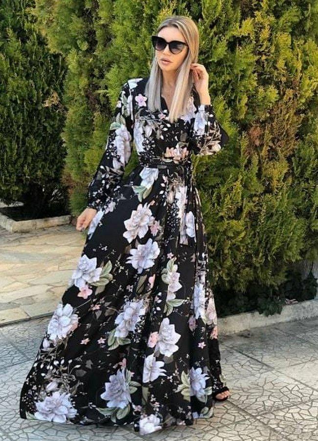 4203. Μαύρο floral maxi φόρεμα με ζώνη ... 925adf360b6