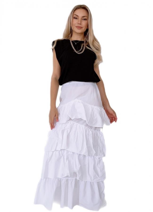 maxi φούστα με πολλά βολάν