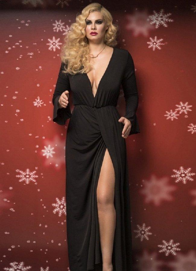 762c4e92c1a8 maxi κρουαζέ φόρεμα με καμπάνα μανίκια by Maria Korinthiou Collection