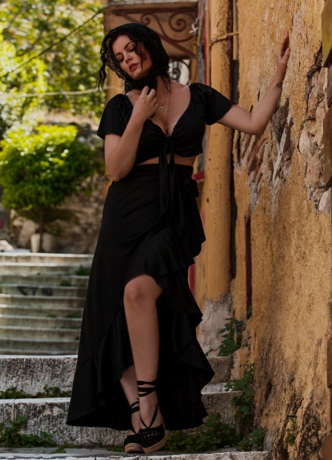 maxi κρουαζέ φούστα με βολάν by Maria Korinthiou Collection