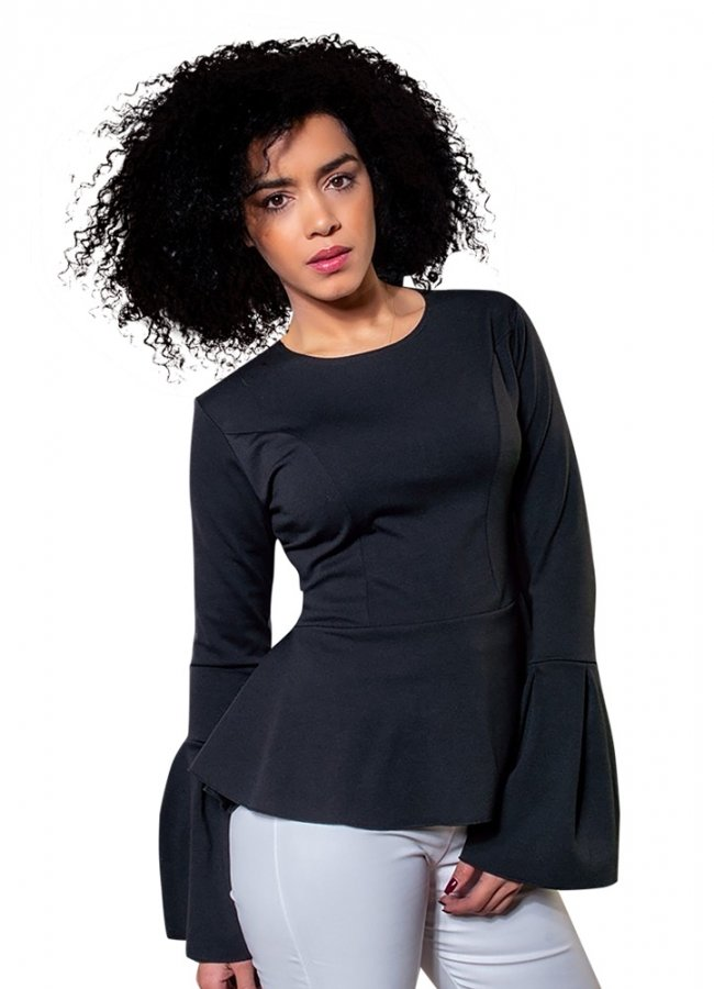 μεσάτη μπλούζα με καμπάνα μανίκια