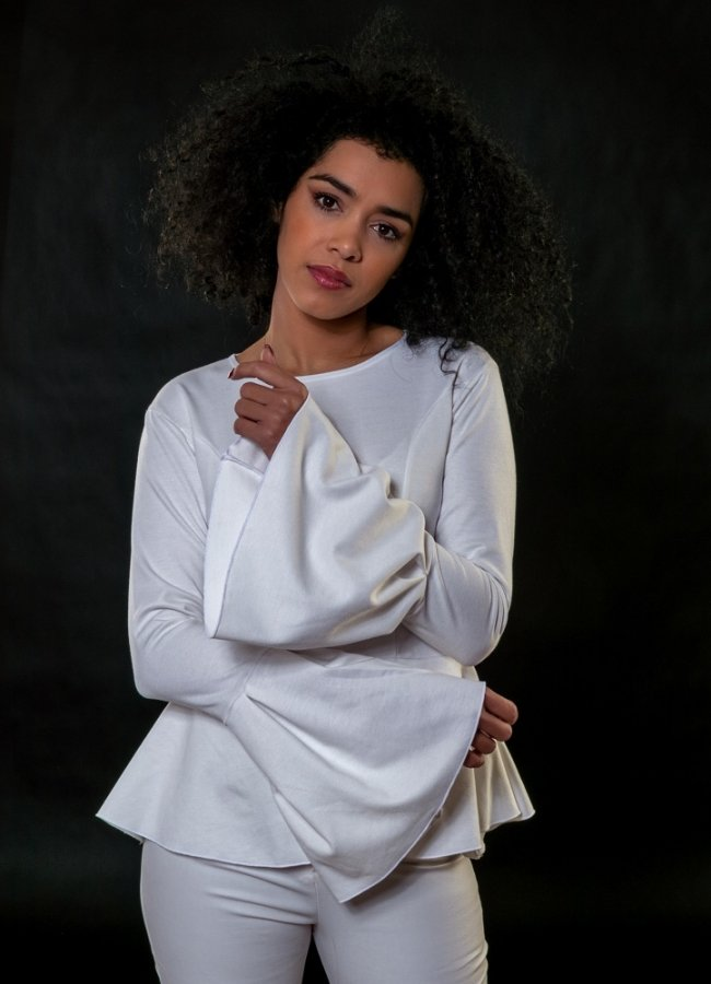 waisted blouse with bell sleeves