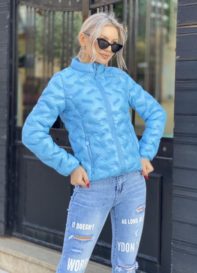 μεσάτο ανοιξιάτικο μπουφάν με ιδιαίτερο σχέδιο ραφή - Μπλε