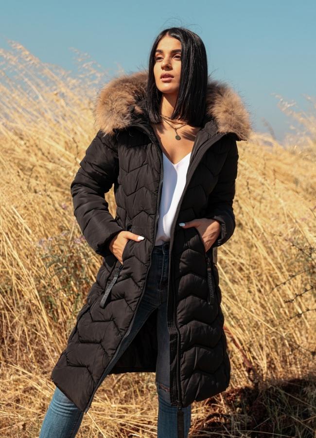μεσάτο μακρύ μπουφάν με ζώνη & γούνα στην κουκούλα