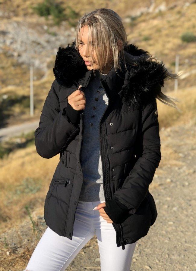 μεσάτο μπουφάν με γούνα στην κουκούλα