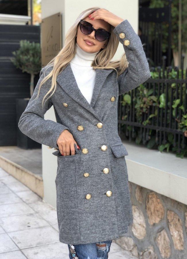 μεσάτο παλτό με  κουμπιά