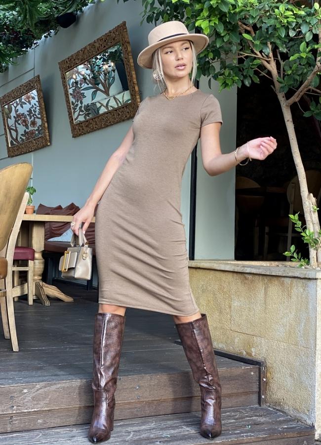 midi casual κοντομάνικο φόρεμα