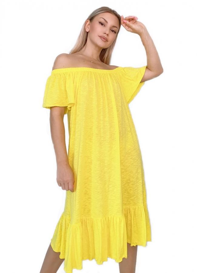 midi έξωμο φόρεμα αέρινο με βολάν στο τελείωμα