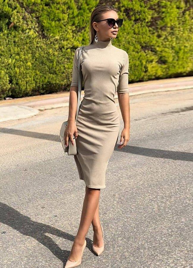 midi φόρεμα ελαστικό 3 4 μανίκι 1e3c486a6c0