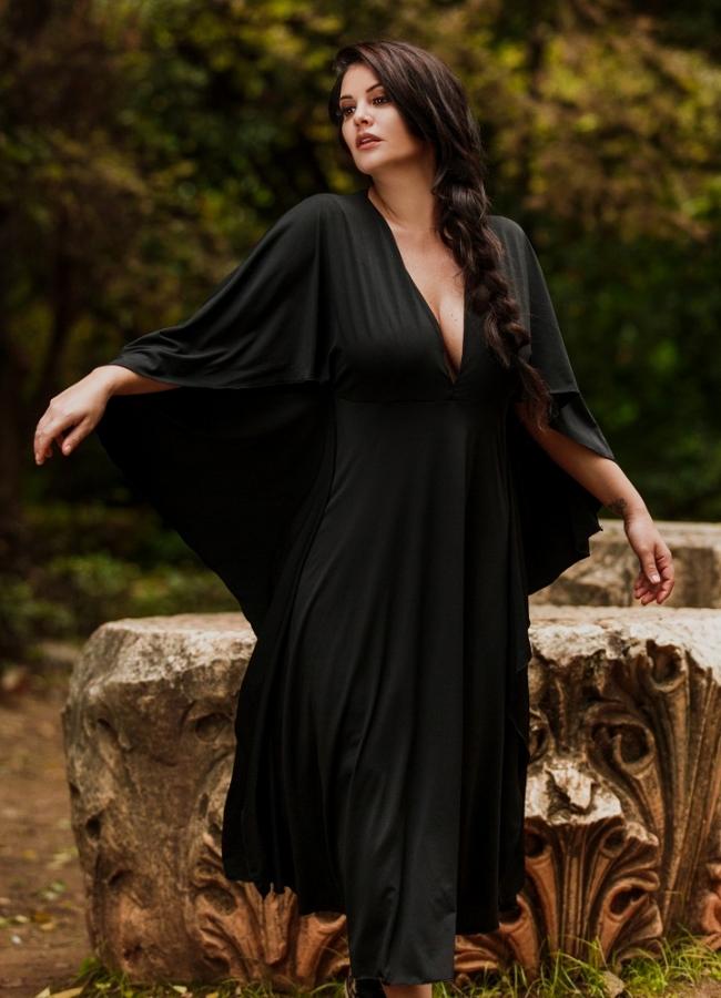 Midi φόρεμα με νυχτερίδα μανίκια by Maria Korinthiou Collection - Μαύρο
