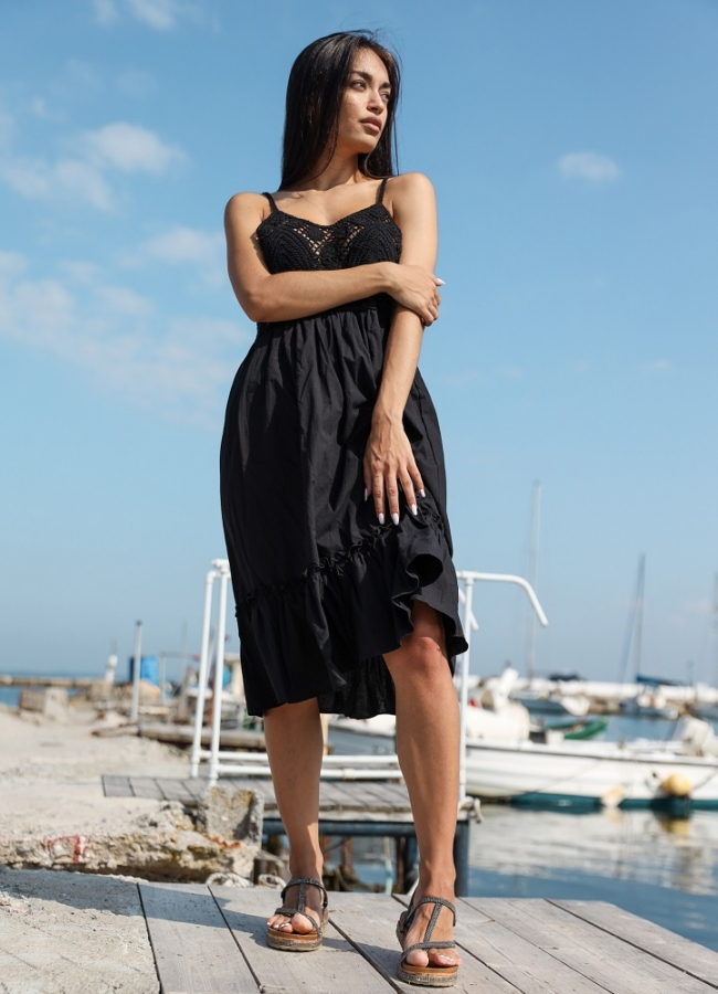 Midi φόρεμα τιράντα με πλεκτό το πάνω μέρος - Μαύρο