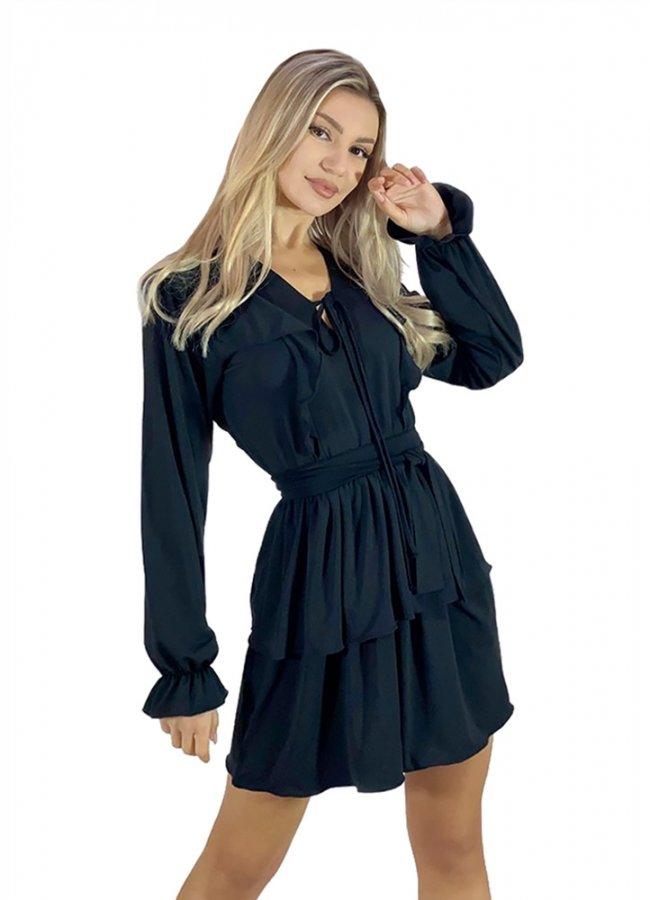 μίνι φόρεμα με διπλό βολάν