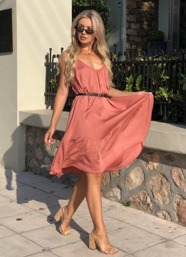 μίνι φόρεμα τιράντα - Κόκκινο