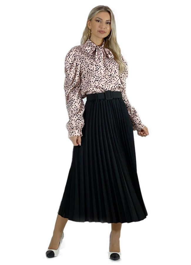 μίντι πλισέ φούστα με ζώνη