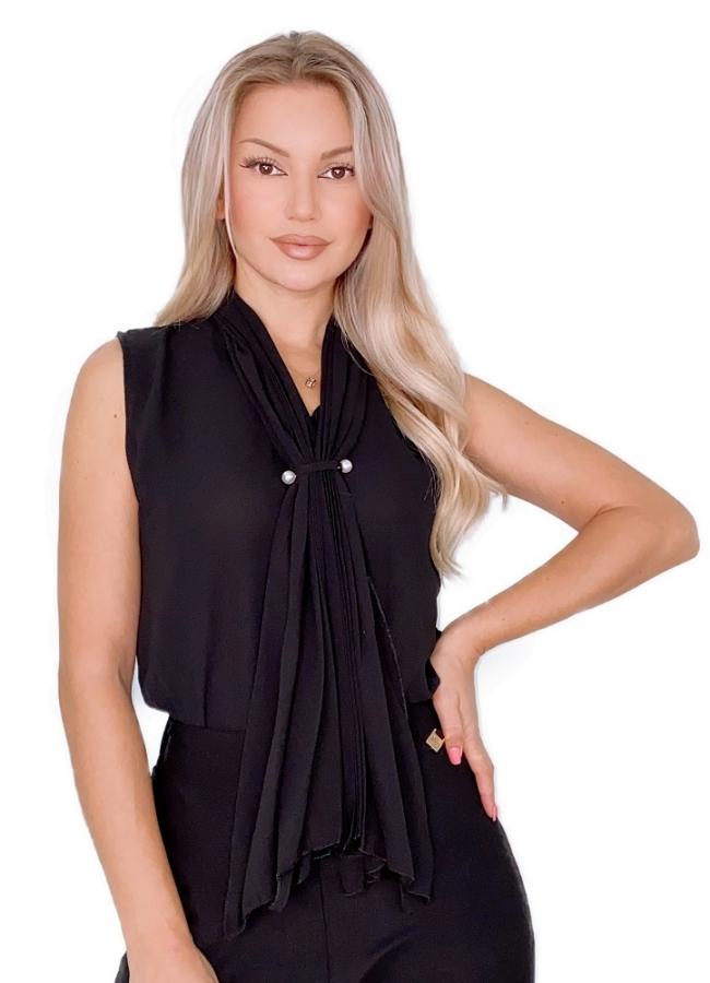 μπλούζα αμάνικη μουσελίνα - Μαύρο