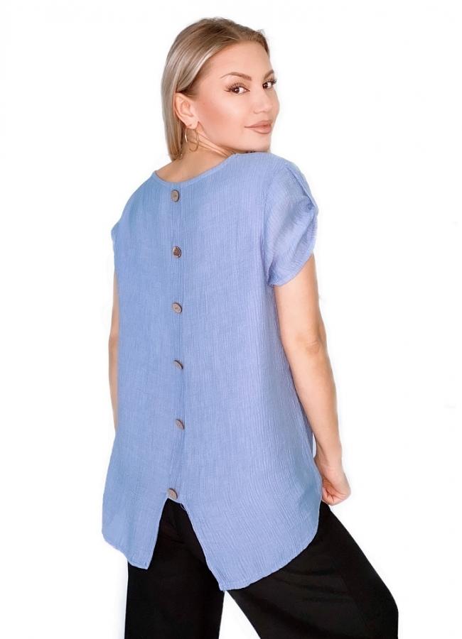 μπλούζα κοντομάνικη μακρυά με διακοσμητικά κουμπιά στην πλάτη