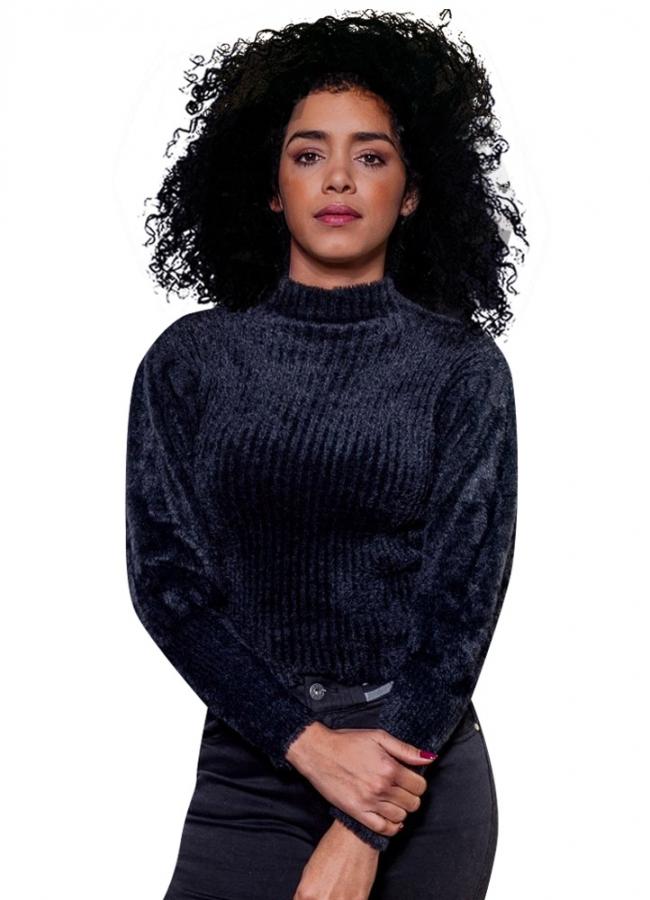 μπλούζα μοχέρ με φουσκωτά μανίκια