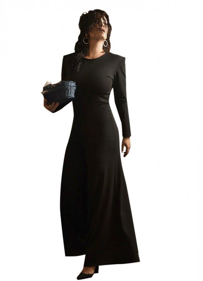 ολόσωμη φόρμα καμπάνα με βάτες by Maria Korinthiou Collection - Μαύρο