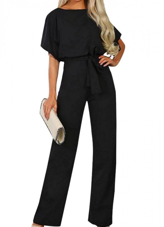 ολόσωμη φόρμα με ζώνη - Μαύρο