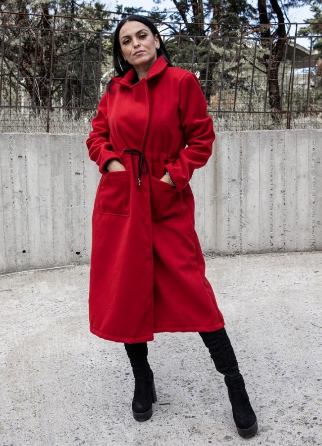 Oversize παλτό με κορδόνι στη μέση - Κόκκινο
