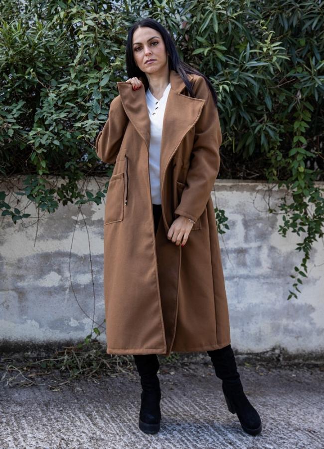 Oversize παλτό με κορδόνι στη μέση - Καφέ