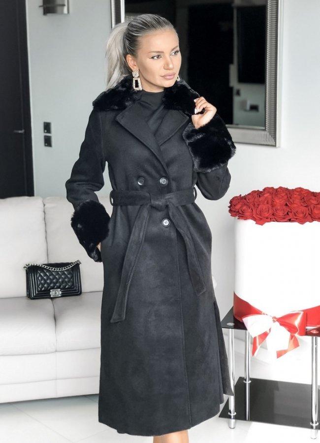 παλτό με γούνινο γιακά και γούνα στα μανίκια