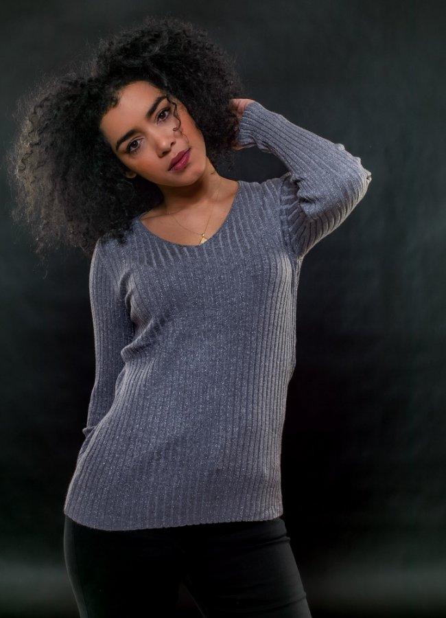 πλεκτή μπλούζα lurex