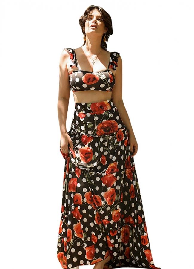 πουά μάξι φούστα με τριπλό βολάν by Maria Korinthiou Collection