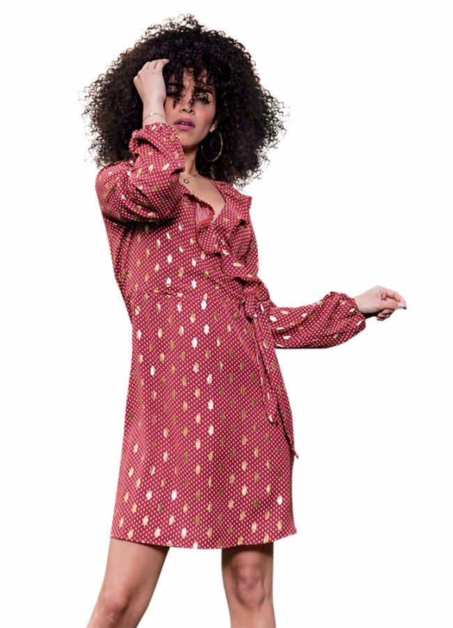 midi polka dot dress with ruffles wrap