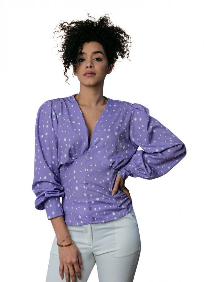 πουά μπλούζα με μανσέτες στα μανίκια