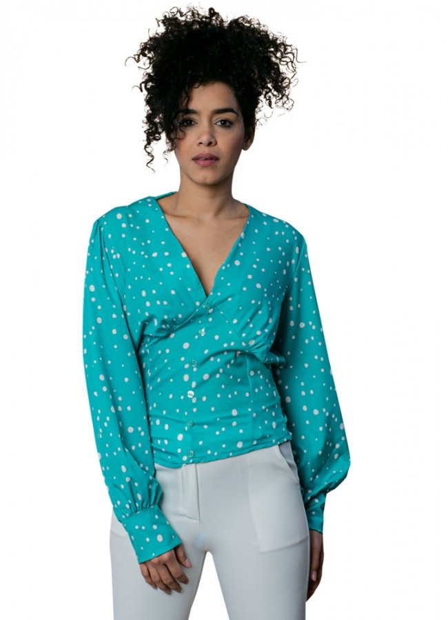 polka dot blouse with cuffs on the sleeves