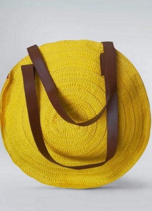 ψάθινη τσάντα με καφέ λουράκι