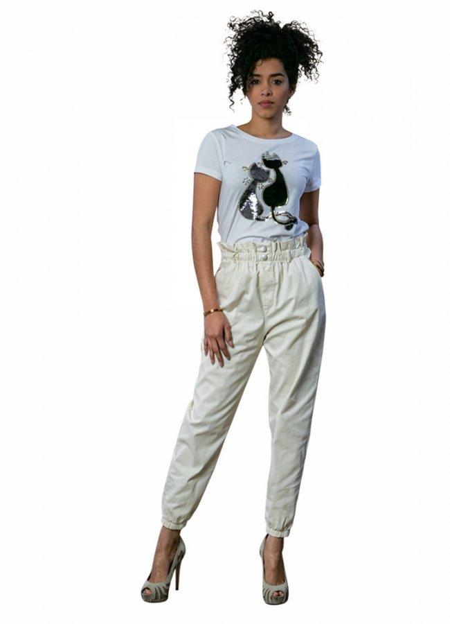 ψηλόμεσο παντελόνι καμπαρντινέ με λάστιχο στη μέση