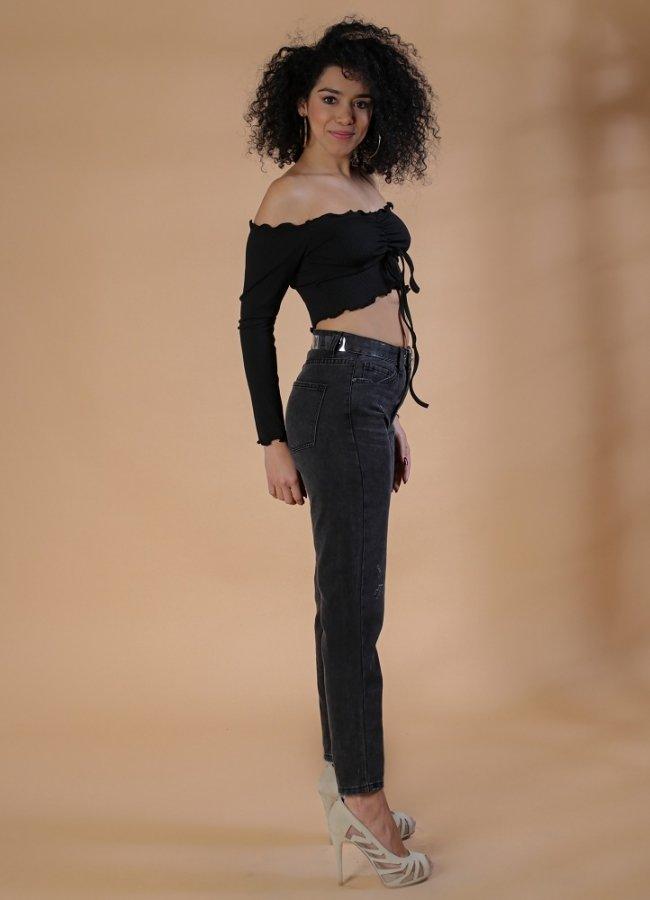 ψηλόμεσο τζιν παντελόνι με διάφανη ζώνη