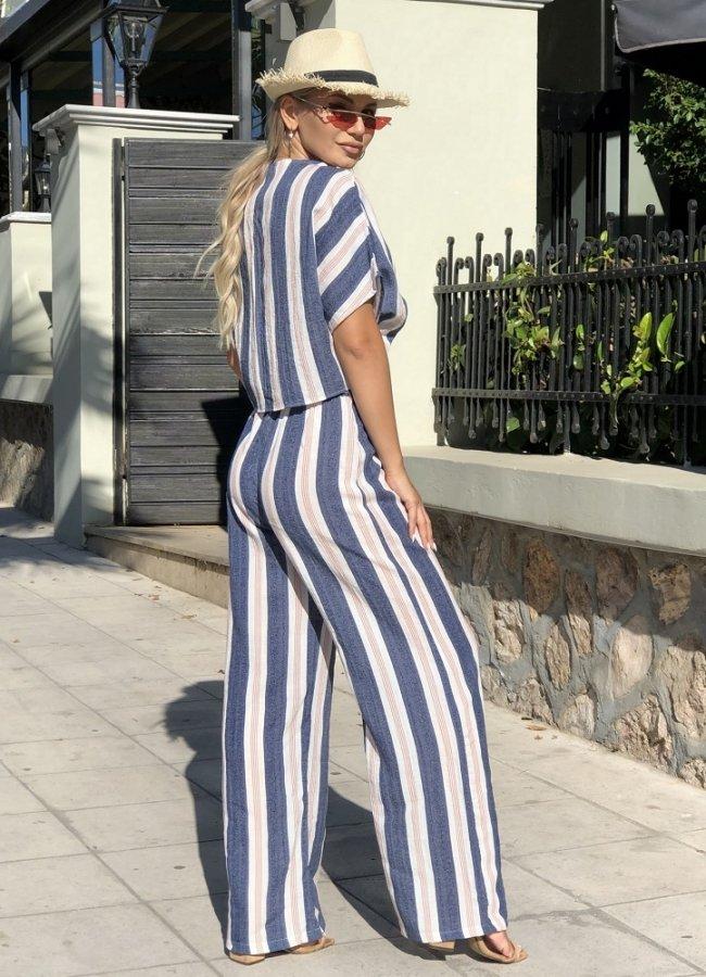 ριγέ λινή παντελόνα με ζώνη