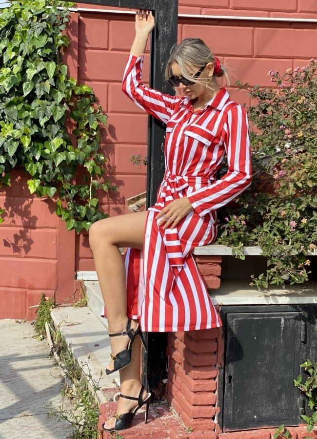 ριγέ maxi φόρεμα / πουκαμίσα όλο κουμπιά με ζώνη - Κόκκινο