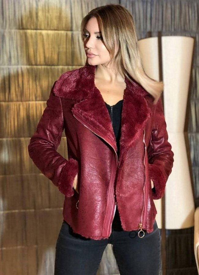 84fe7248fb2 suede γυαλιστερό jacket με γούνα