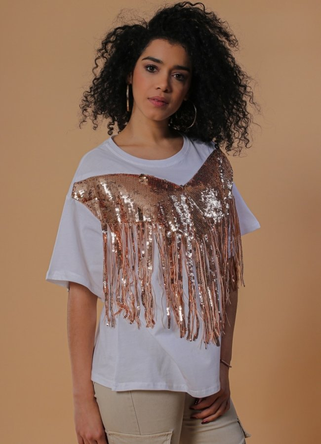 t-shirt with sequined fringes