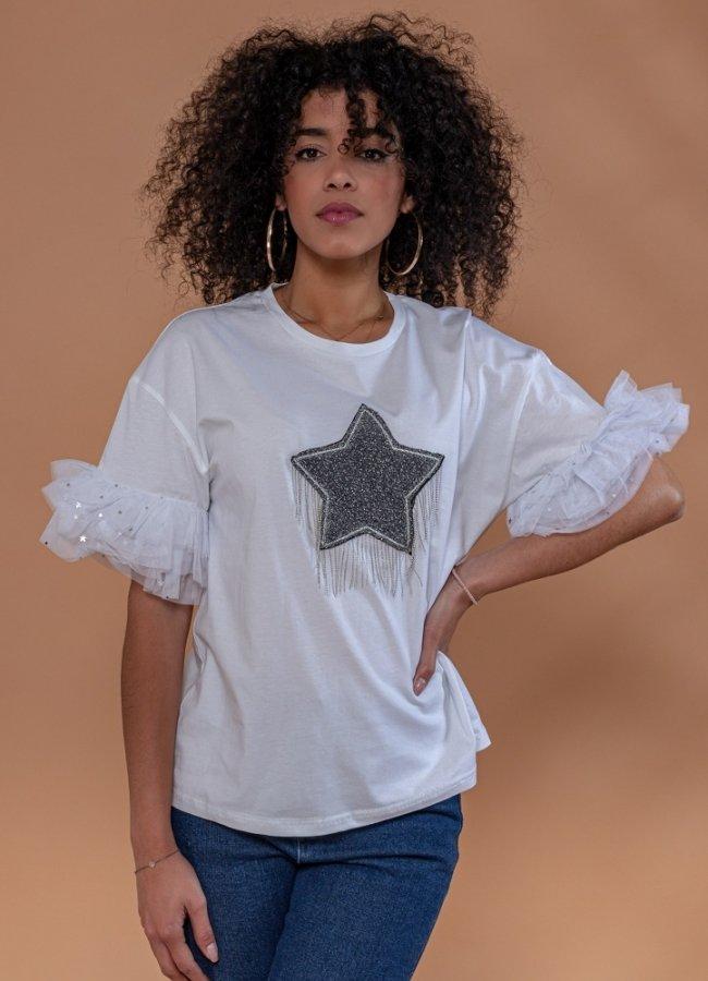 t-shirt με οργάντζα μανίκια