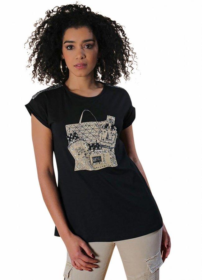 t-shirt με παγιέτα και στρας