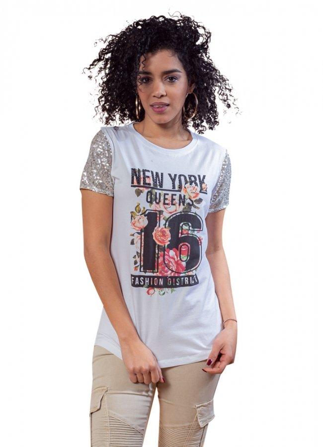 t-shirt με παγιέτα στα μανίκια