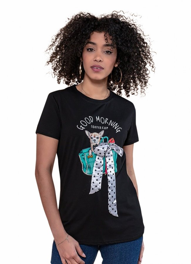 t-shirt με πουά φιόγκο