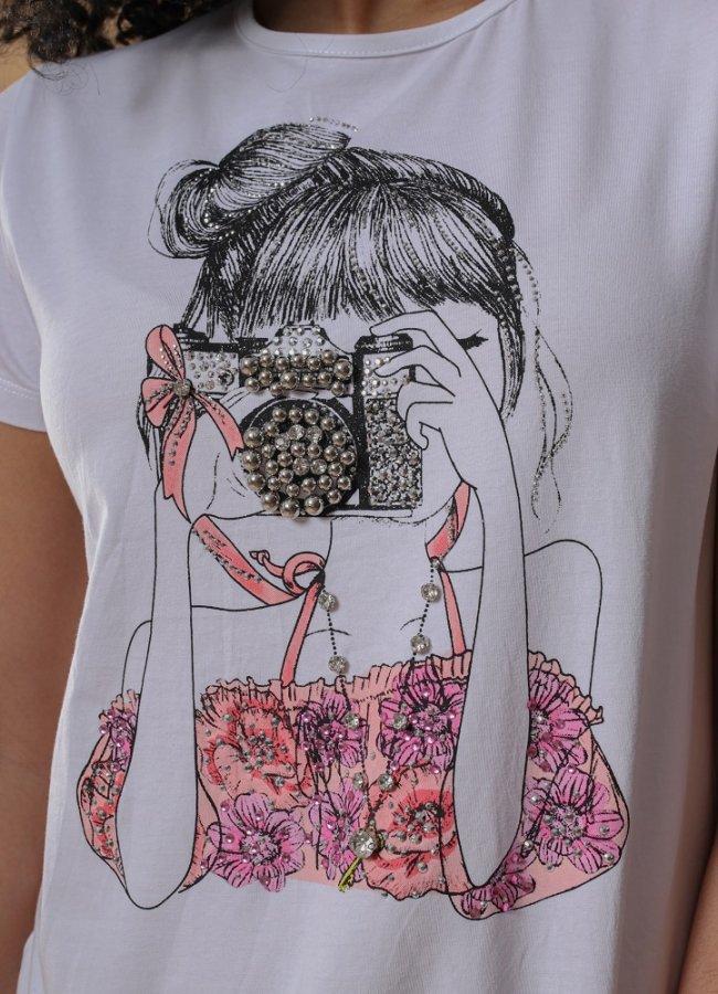 t-shirt με στάμπα και στρασάκια