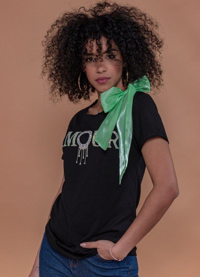 t-shirt με στρας και φιόγκο στον ώμο