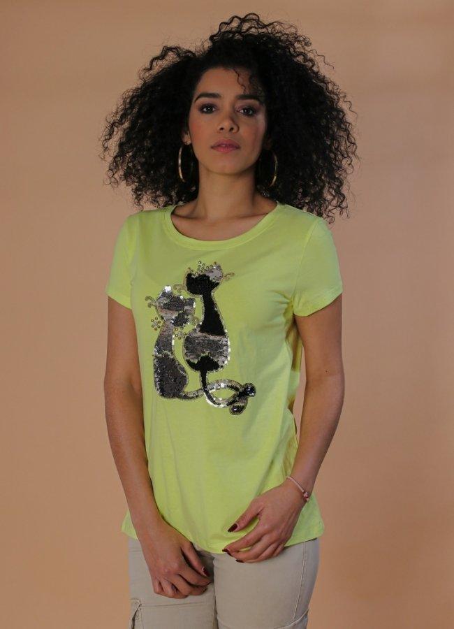 t-shirt με σχέδιο παγιέτα