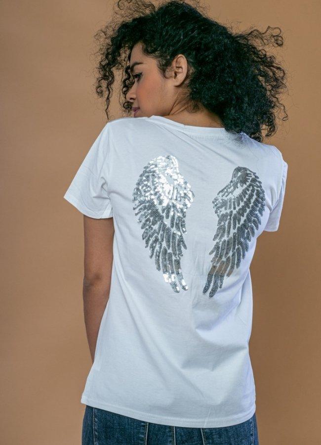 t-shirt με σχέδιο στην πλάτη
