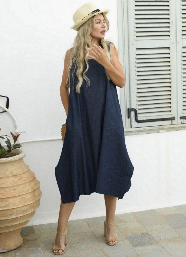 7b3af8d0633 τζιν φόρεμα ασύμμετρο με τσέπες