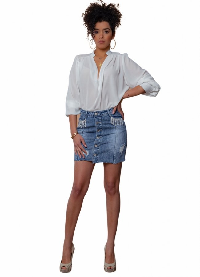 τζιν μίνι φούστα με αλυσίδες στρας στις τσέπες