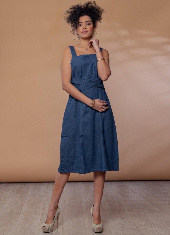 τζιν μίντι φόρεμα με φαρδιά τιράντα